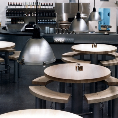 """60"""" round tables in 3"""" thick ash with benches"""