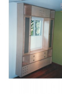 birch plywood built-in cabinet