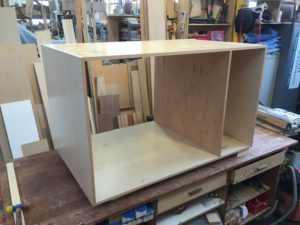 The basic drawer box made of pre finished maple plywood and designed to comp apart and be reassembled on site.