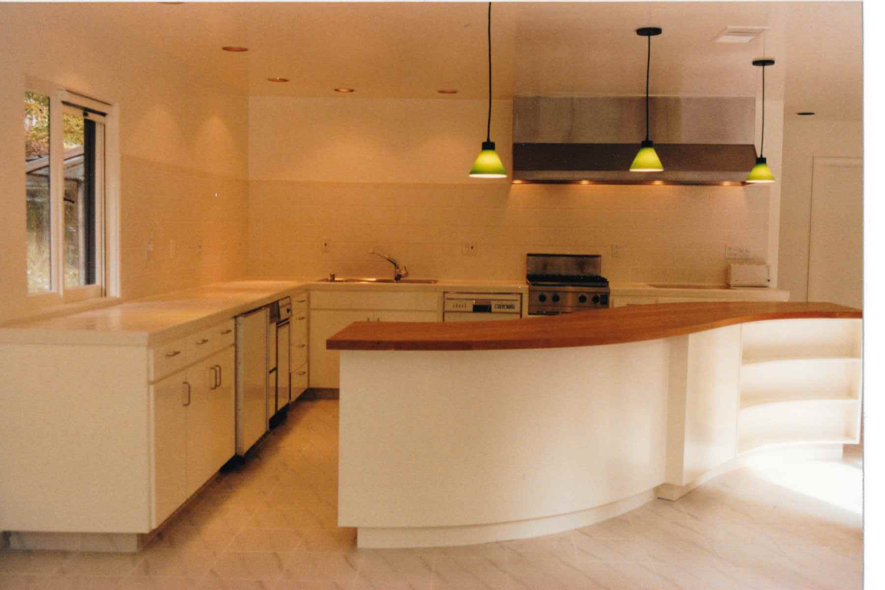 Curved Cherry wood Kitchen counter and cabinets. | Wood Furniture ...