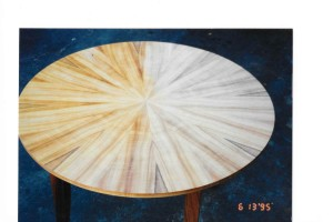 Koa wood veneer round table