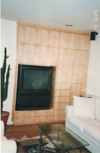 maple built in TV cabinet
