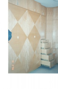 maple veneer built-in cabinets