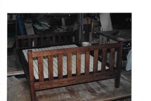 Mission style oak bed frame