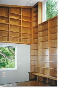 tall cherry plywood shelves